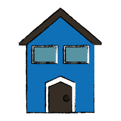 drawing blue house windows vector illustration eps 10
