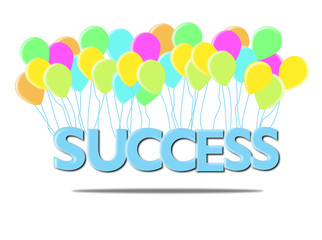 Blue SUCCESS words with colorful balloon on white background.