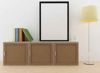 mock up photo frame on the counter table in 3D rendering