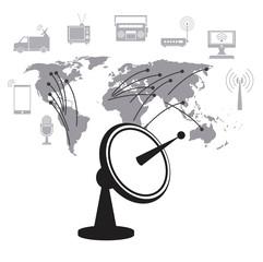satellite dish data transmitter global service vector illustration eps 10