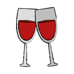 drawing two glass red wine drink vector illustration eps 10