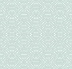 Geometric repeating vector light blue and white ornament with hexagonal dotted elements. Geometric modern ornament. Seamless abstract modern pattern