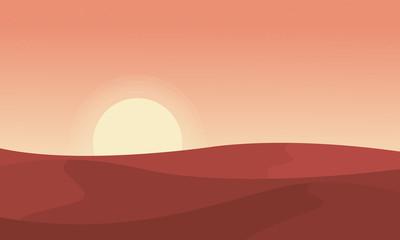 Silhouette of desert at sunrise landscape