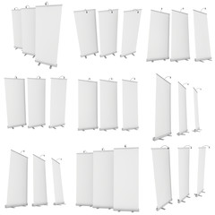 Blank Roll Up Banner Stands with different angles det. Trade show booth white and blank. 3d render isolated on white background. High Resolution Template for your design.