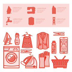 Icons set laundry room