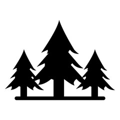 silhouette wild pines forest tree vector illustration eps 10