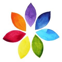 7 color of chakra sign symbol, colorful lotus flower icon, watercolor painting