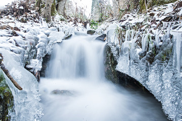Winter scenery featuring a running creek of water