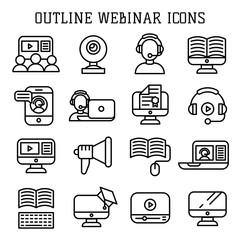 Webinar outline icons vector.