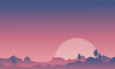 Silhouette of desert and mountain background