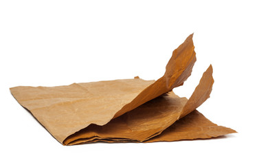 Natural brown paper on white background