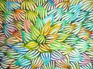 cactus, haworthia, hand drawn watercolor painting illustration