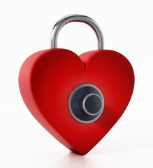 Locked red heart with dial. 3D illustration