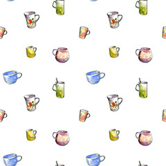 seamless pattern with teacups