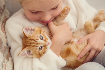cute little girl holding a kitten on a ginger hand