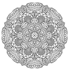 Black and white abstract pattern with leaves and flowers. Doodle. Hand drawn zentagles. Coloring Mandala.
