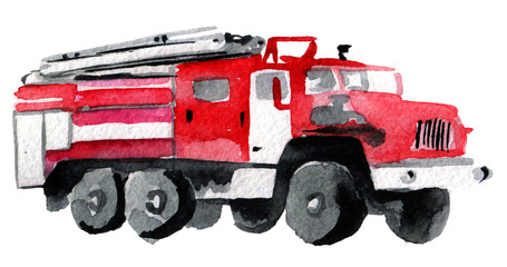 watercolor sketch of fire engine on white background