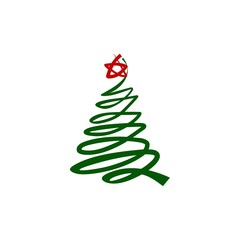 Christmas tree sign. Vector illustration. For any use.