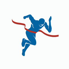 Sprinter and finish tape. Sports vector silhouette of the winner on a white background.