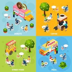 Street Food Isometric 4 Icons Square