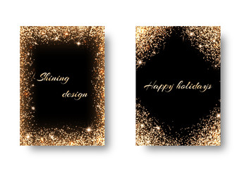 Glitter background for festive decoration. Set backs with golden light effects. Celebrating the New Year, 2017