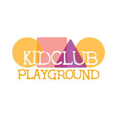 Kids Land Playground And Entertainment Club Colorful Promo Sign With Geometric Shapes For The Playing Space For Children