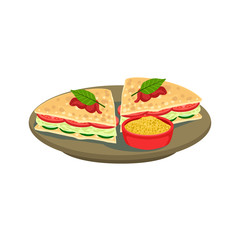 Quesadilla Cut Sandwich Traditional Mexican Cuisine Dish Food Item From Cafe Menu Vector Illustration