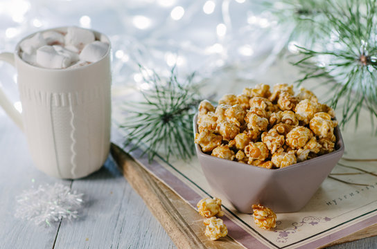 winter still life with popcorn, Christmas toys and garland