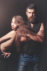 bearded biker man and naked girl