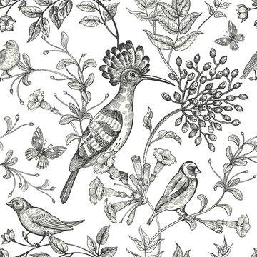 Seamless black and white pattern with birds and flowers.