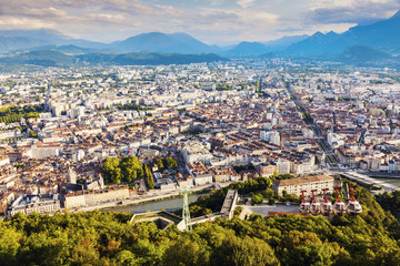 Grenoble - aerial panorama of the city