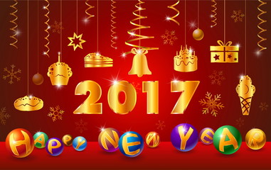 happy new year 2017 and text with ball glossy,ribbon