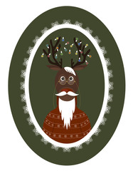 old deer with a beard, mustache, glasses and garlands on the horns in openwork frame. Christmas background