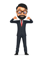 3d successful businessman isolated on a white background indicat