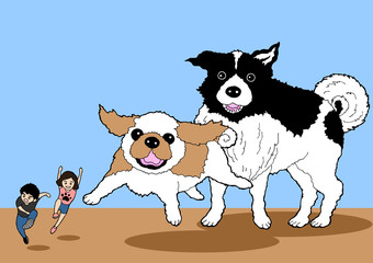 funny scene of big dogs catching human, cartoon character, vector