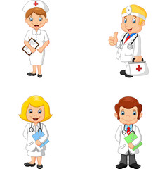 Cartoon doctors and nurses