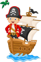 Cartoon little pirate on his ship
