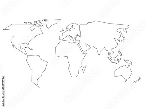simplified black outline of world map divided to six continents simple flat vector illustration on