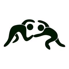 Isolated wrestling icon. Black figures of athlets on white background.