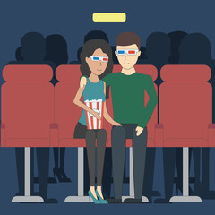 Romantic dating in cinema. Young happy couple in 3d glasses watching film with popcorn.