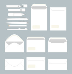 White stationary set. Envelopes and blanks and documents. Office papers.