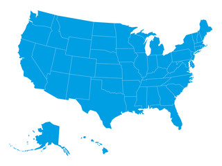 Blank map of United States of America divided into states. Simplified flat blue silhouette vector map on white background.