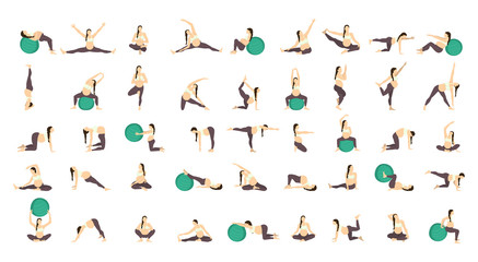 Workout for pregnant set. Exercises with fit ball. Yoga training.