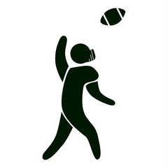 Isolated rugby icon. Black figure of an athlet on white background. Person with ball.