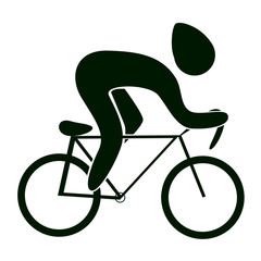Isolated cycling icon. Road cycling. Black figure of an athlet on white background.