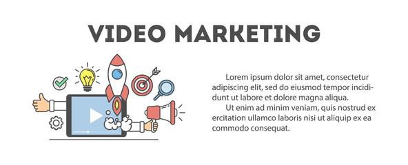 Video marketing concept. Digital design. Social network and media communication.