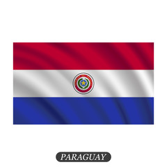 Waving Paraguay flag on a white background. Vector illustration