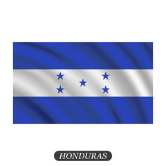 Waving Honduras flag on a white background. Vector illustration
