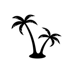 Palm trees black silhouette