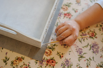 painter paint a white wood vinatge box for decoration nice
